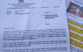 Surat hak jawab Polres Gunung Mas kepada borneonews.co.id