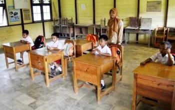 Suasana pembelajaran di SDN Bunut, beberapa waktu lalu.