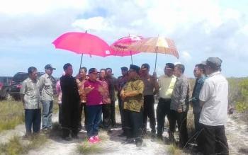 Gubernur Kalimantan Tengah Sugianto Sabran saat meninjau areal yang rencananya akan dijadikan lahan peternakan.