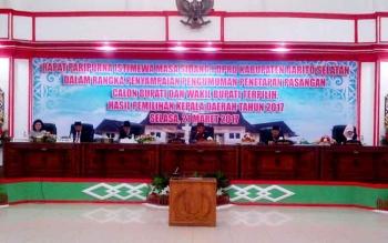 DPRD Barito Selatan menggelar rapat paripurna istimewa penyampaian pengumuman penetapan bupati dan wakil bupati terpilih, Selasa (21/3/2017)