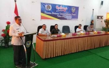 Bupati Seruyan Sudarsono membuka konferensi PWI Seruyan, di aula Mess Pemda, Rabu (22/3/2017).