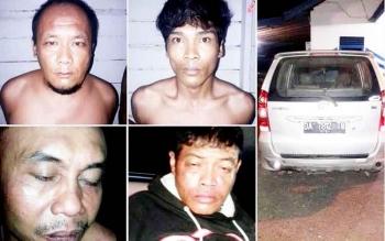 Inilah wajah para pelaku pencurian mobil di jalan lintas Kalimantan yang diringkus aparat Polres Pulang Pisau, Selasa (21/3/2017)