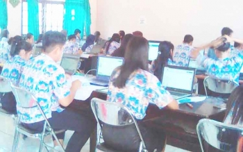 Pelaksanaan USBN-BK SMAN 1 Tamiang Layang, Kabupaten Barito Timur, Kamis (23/3/2017).