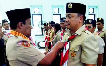 Usis I Sangkai resmi dilantik sebagai Ketua Kwartir Cabang Pramuka Kabupaten Pulang Pisau oleh Ketua Majelis Pembimbing Cabang Edy Pratowo, Kamis (23/3/2017).