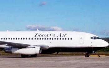 Pesawat Trigana Air. Hujan lebat yang mengguyur wilayah Pangkalan Bun, Kotawaringin Barat, sejak Sabtu (25/3/2017) menyebabkan pesawat Trigana Air jenis Boeing 734 dari Jakarta gagal mendarat di Bandara Iskandar Pangkalan Bun, Minggu (26/3/2017) pagi.