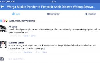 Salah satu postingan berita Borneonews.co.id yang ditanggapi Gubernur Kalteng Sugianto Sabran, terkait upaya jalan pintas kemanusiaan yang dilakukan Wakil Bupati Seruyan Yulhaidir terhadap warganya yang miskin dan membutuhkan perawatan intensif.