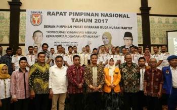 Menpora Imam Nahrawi membuka Rapat Pimpinan Nasional Gerakan Pemuda Nurani Rakyat (Gemura) 2017 di Hotel Grand Cempaka, Jakarta Pusat, Jumat (31/3/2017) siang.