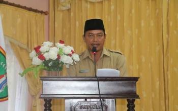 Wakil Bupati Sukamara, Windu Subagio saat membacakan sambutan di sebuah kegiatan.