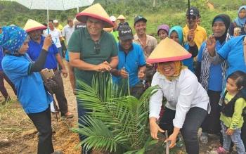 Hj Nurhidayah saat menanam pohon sawit plasma perdana di Desa Umpang belum lama ini.