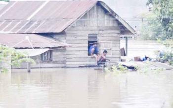 Banjir belum lama ini merendam pemukiman warga di bantaran sungai Arut Kecamatan Arut Utara (Aruta) Kabupaten Kobar.