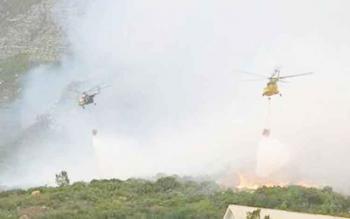 Dua helikopter water bombing tengah beroperasi memadamkan api di wilayah Kabupaten Kobar tahun 2016. Tahun ini, Kalteng usulkan 10 helikopter untuk tangani karhutla.