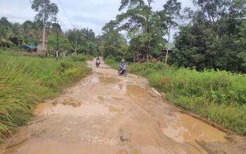 Kondisi Jalan Bhayangkara di Kelurahan Puruk Cahu Seberang, Kecamatan Murung Kabupaten Murung Raya