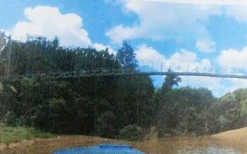 Beginilah kondisi jembatan gantung Desa Karendan, Kecamatan Lahei