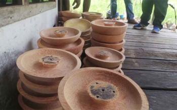 Menengok Usaha Warga Desa Basungkai Olah Batang Pohon Kelapa Menjadi Cobek