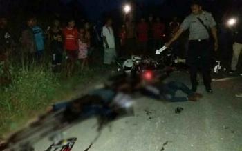 Suasana di lokasi kecelekaaan yang menewaskan tiga orang di Kuluk Guhung, Kabupaten Gunung Mas