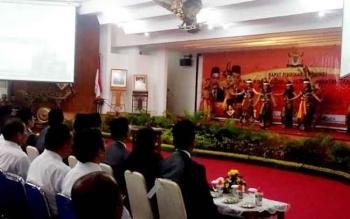 Rapat Pimpinan Provinsi Kamar Dagang dan Industri Kalimantan Tengah di Aula Jayang Tingang, Palangka Raya, Senin (17/5/2017).