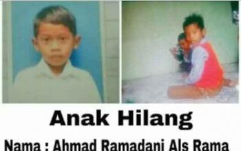 Ahmad Ramadani alias Rama, bocah yang hilang sejak Minggu (16/4/2017) hingga kini belum ditemukan.