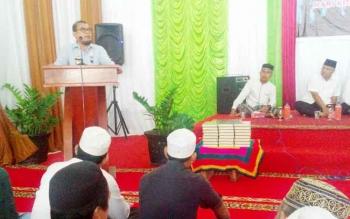 Kepala Kantor Wilayah Kementerian Hukum dan HAM Kalimantan Tengah, Agus Purwanto ketika memberikan sambutan pada acara peringatan Isra Mi\\\\\\\\