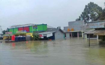 Rumah warga Desa Amin Jaya dan Desa Sungai Pakit, Kecamatan Pangkalan Banteng, Kabupaten Kotawaringin Barat, terendam banjir, Rabu (19/4/2017).