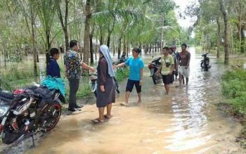 Wakil Bupati Terpilih menyalami warga Desa Sungai Hijau saat meninjau lokasi banjir, Rabu (19/4/2017).