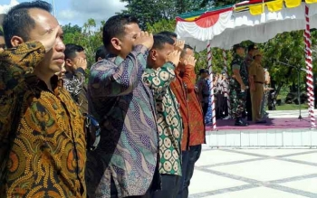 Upacara gelar pasukan pengamanan kedatangan Wapres Jusuf Kalla, Selasa (25/4/2017). Nampak sejumlah Paspamres turut mengikuti upacara tersebut.