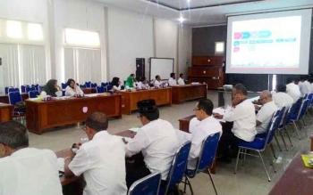 Dinas Komunikasi Informatika Statistik dan Persandian Kobar mengadakan lokakarya PPID di aula Bappeda, Rabu (26/4/2017).