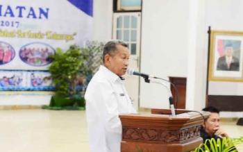 Kepala Dinas Kesehatan Barito Utara, H Robansyah saat memberikan sambutan pada Rekernis Kesehatan tahun 2017.