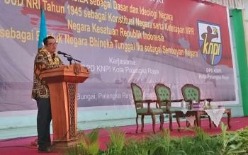 Wakil Ketua MPR Mahyudin memberikan sambutan di GPU Tambun Bungai, Palangka Raya, Kamis (27/4/2017)