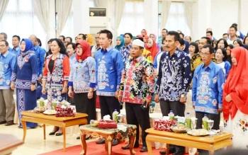 Suasana reuni alumni SPG PGRI Muara Teweh, Kabupaten Barito Utara, di Gedung Balai Antang, Kamis (27/4/2017).