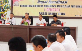 Anggota komisi III DPRD Barito Utara, H Tajeri (kanan ujung) saat menghadiri kegiatan Rapat koordinasi pembentukan Gempar.