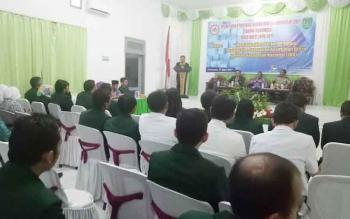 Ketua IDI cabang Kabupaten Sukamara, dr Abdul Latif saat membacakan sambutan.