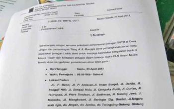 Surat pemberitahuan yang dilayangkan oleh PLN Rayon Muara Teweh mengnai pemadaman listrik pada Sabtu (29/4/2017)