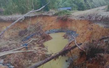 Beginilah kondisi dari aktivitas PETI di sekitar Desa Rangan Hiran, Kecamatan Miri Manasa, Kabupaten Gunung Mas