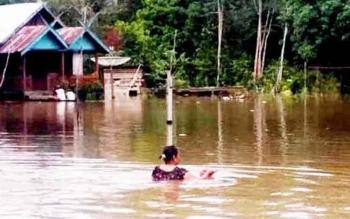 Permukiman warga di bantaran Sungai Arut di beberapa desa dan kelurahan di Kecamatan Arut Utara (Aruta), Kabupaten Kotawaringin Barat, Kalimantan Tengah kembali terancam banjir.