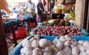 Tumpukan bawang putih dan sejumlah komudity lainnya yang dijual pedagang di PPM Sampit. Saat ini untuk harga bawang putih alami kenakakan hingga Rp55 ribu perkilogram.