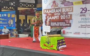 Yudha saat tampil di hadapan para juri Lomba Bercerita, Rabu (3/5/2017).