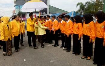 Ketua DPD Partai Golkar Provinsi Kaliamtan Tengah, H Ruslan saat bertandang ke Kabupaten Sukamara.