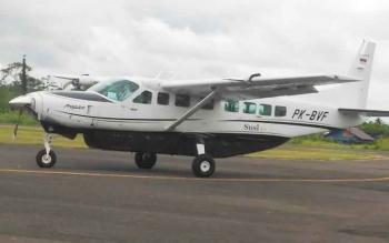 Pesawat Susi Air saat mendarat di Bandara Kuala Kurun, Kabupaten Gunung Mas, Senin (15/5/2017).