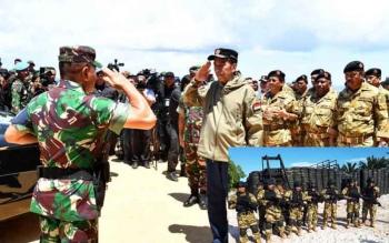Proses pembaretan gubernur se-Indonesia di Natuna, Kepulauan Riau, yang dimpimpin Presiden Joko Widodo, Jumat (19/5/2017).
