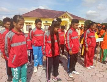 Para pelajar saat mengikuti pembukaan seleksi OOSN dan FLSSN tingkat SMP seluruh Kabupaten Sukamara