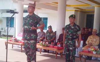 Dandim 1012 Buntok Letkol Inf Didik Purwanto menjadi Irup pada upara peringatan HUT Kalteng ke-60, Selasa (23/5/2017) pagi ini