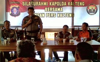 Kapolda Kalteng Brigadir Jenderal Anang Revandoko memberikan sambutan pada acara silaturahmi Kapolda Kalteng bersama insan pers, Jumat (26/5/2017).
