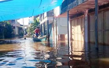 Kondisi banjir di Kelurahan Muara Launh, Kecamatan Laung Tuhup, Rabu (31/5/2017).