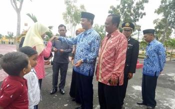 Wakil Bupati Sukamara, Windu Subagio usai apel peringatan Hari Lahir Pancasila.