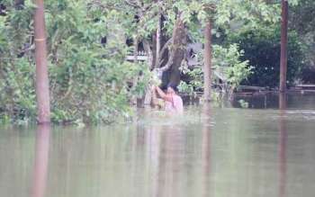 Salah satu warga Pangkut Kecamatan Aruta nekat menerjang banjir yang merendam permukiman belum lama ini.