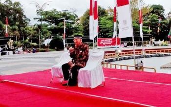 Tokoh Kalteng dan mantan Ketua DAD Kalteng, Sabran Ahmad saat menyampaikan testimony di Tugu Soekarno, Kamis (1/6/2017) petang