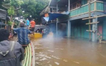 Banjir di Kelurahan Muara Laung, Kecamatan Laung Tuhup, Kabupaten Murung Raya.