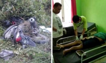 Kondisi kendaraan korban dan korban saat sedang divisum petugas medis Puskesmas Jabiren.