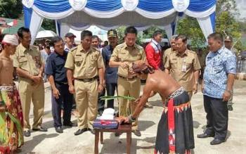 Bupati Barito Utara Nadalsyah saat menjalani ritual adat ketika memasuki Desa Hajak, Kecamatan Teweh Baru, Senin (5/6/2017).