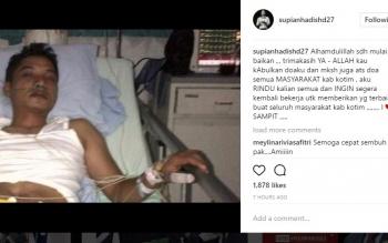 Supian Hadi dirawat di rumah sakit.
